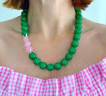 Load image into Gallery viewer, Chunky Green & Pink Nugget Statement Necklace - Ginger jar