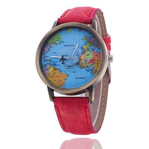 Image of Fashion Global Travel By Plane Map Denim Fabric Watch