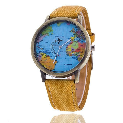 Fashion Global Travel By Plane Map Denim Fabric Watch