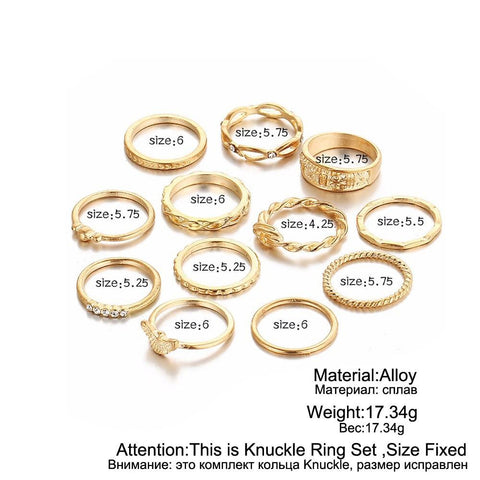 12 pc/set Charm Finger Ring Set for Women