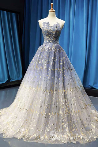 Gorgeous Sparkly Blue Prom Dresses Ball Gown Strapless Long Formal Evening Gowns SED116