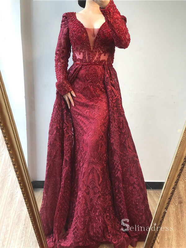 Burgundy A-line Luxury Lace Prom Dress Long Sleeve Beaded Evening Formal Gown SC042