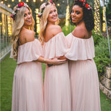 Long Bridesmaid Dress, Off-Shoulder Bridesmaid Dress, Chiffon Bridesmaid Dress BK014