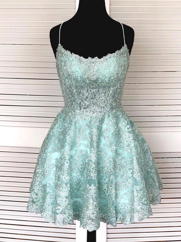 A-Line Light Blue Lace Cute Homecoming Dress Short Prom Dress #MHL083