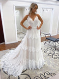 A-line Spaghetti Straps Lace  Bridal Gonws Rustic Wedding Dress SEW062|Selinadress