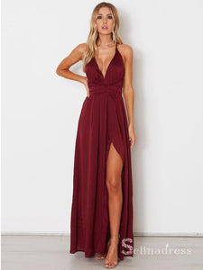 A-line Spaghetti Straps Simple Cheap Long Prom Dresses Burgundy Formal Gowns SE008