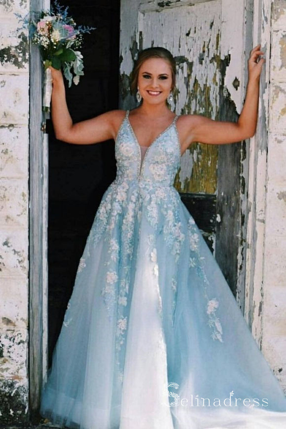 A-line V neck Lace Long Prom Dresses Blue Evening Dress SED516