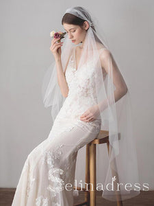 Knee Length Juliet Cap Veils Asymmetrical Hem Bridal Veil ALC001