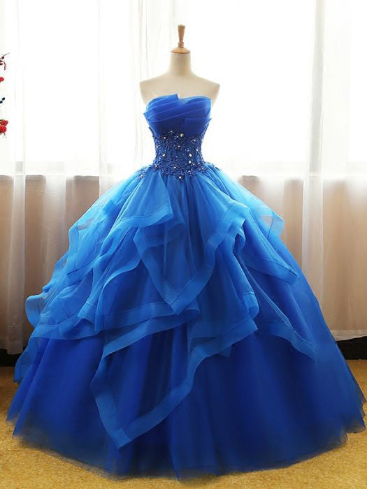 Chic Ball Gowns Royal Blue Strapless Modest Long Prom Dress Evening Dress SED408