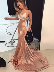 Trumpet/Mermaid Spaghetti Straps Prom Dress Lace Prom Dresses Long Evening Dress SED404