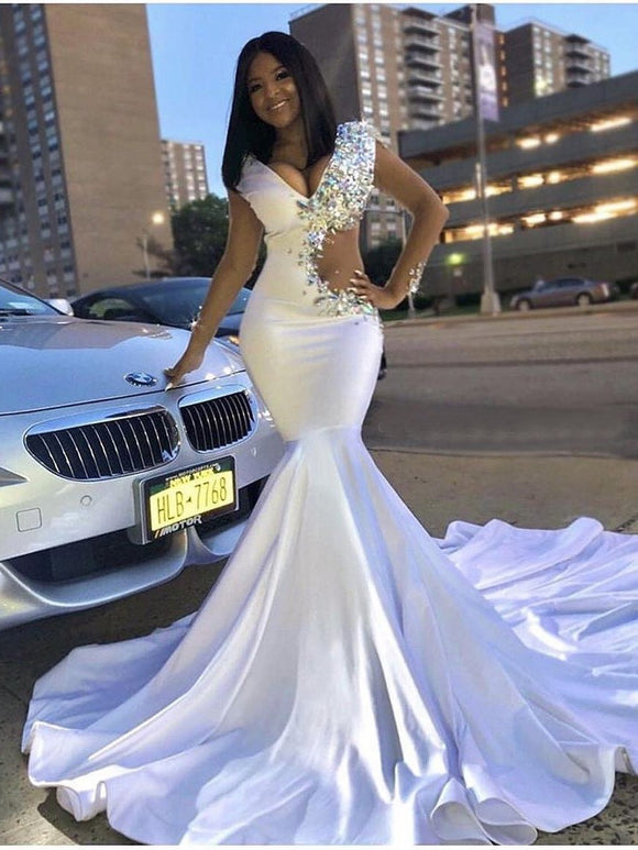 Trumpet/Mermaid White Prom Dress With Rhinestone Long Prom Dresses Evening Dress SED501|Selinadress