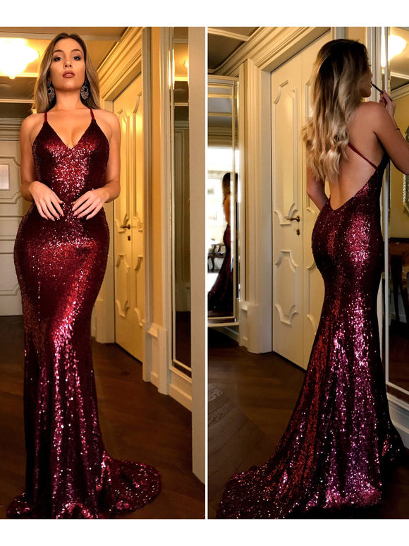 Chic Burgundy Prom Dresses Long Mermaid Modest Cheap Long Prom Dress With Sequins SED498|Selinadress