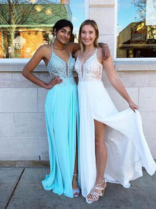 A-line Spaghetti Straps Lace Prom Dresses Modest Long Evening Dress SED327