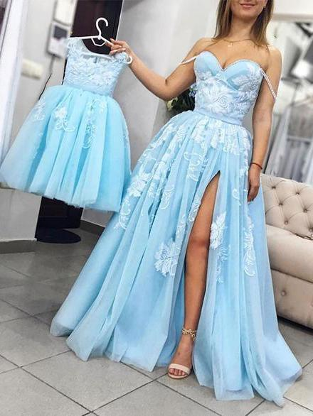 A-line Sweetheart Light Blue Prom Dresses With Lace Vintage Evening Dress SED330