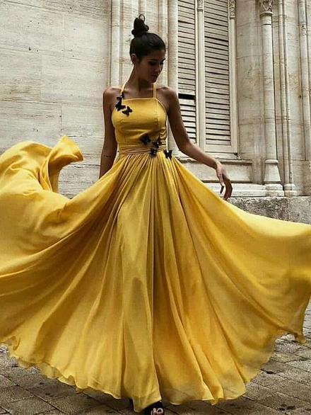 A-line Halter Yellow Prom Dresses With Butterfly Chiffon Vintage Evening Dress SED331