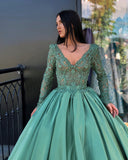 A-line V neck Green Prom Dresses Long Sleeve Lace Prom Dress Evening Dress SED308