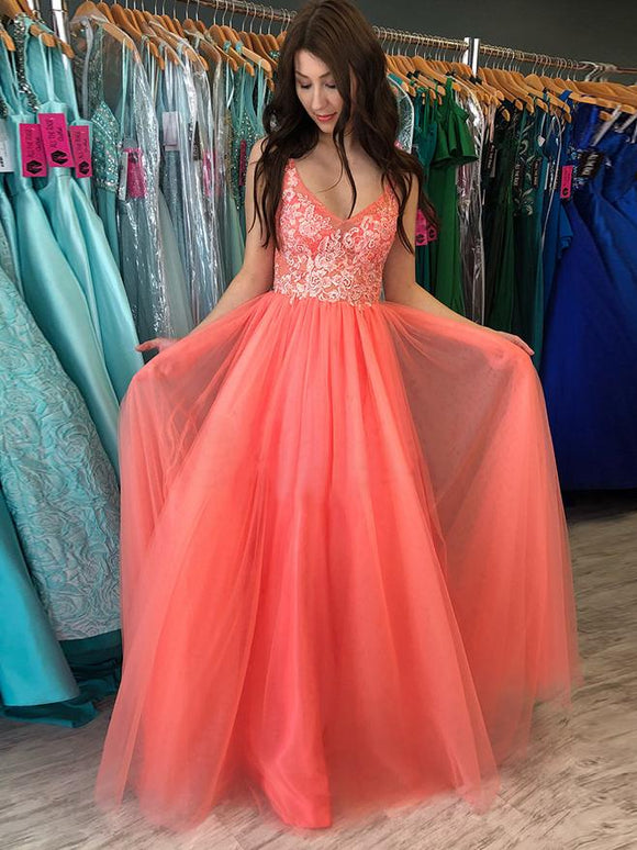 A-line V neck Watermelon Rustic Prom Dresses With Lace Prom Gowns SED336