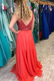 A-line Two Pieces Straps Red Beading Prom Dresses Chiffon Long Prom Dress Evening Dress SED309