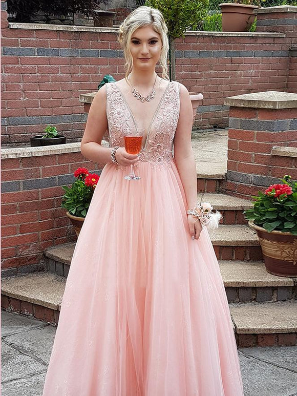 A-line V neck Blush Pink Lace Prom Dresses Beading Tulle Evening Gowns AMY2476