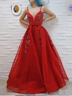 A-line Spaghetti Straps Red Prom Dresses Tulle Beading Long Prom Dress Evening Dress SED311