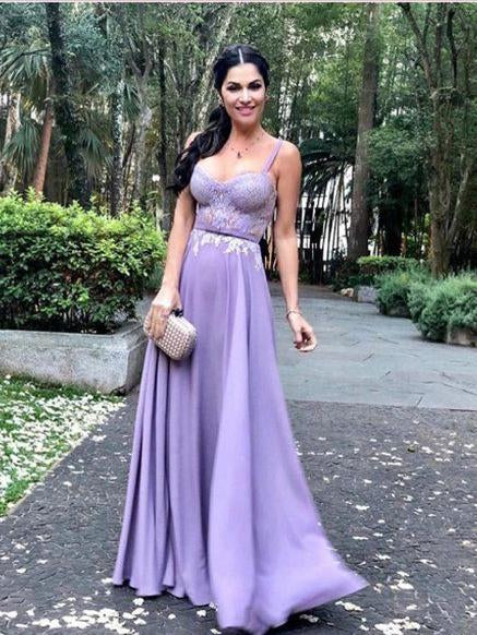 A-line Straps Lilac Prom Dresses Chiffon Lace Long Prom Dress Evening Dress SED312