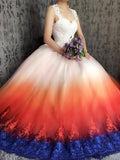 A-line Straps Ombre Lace Prom Dresses Tulle Long Evening Dress Wedding Dress SED314
