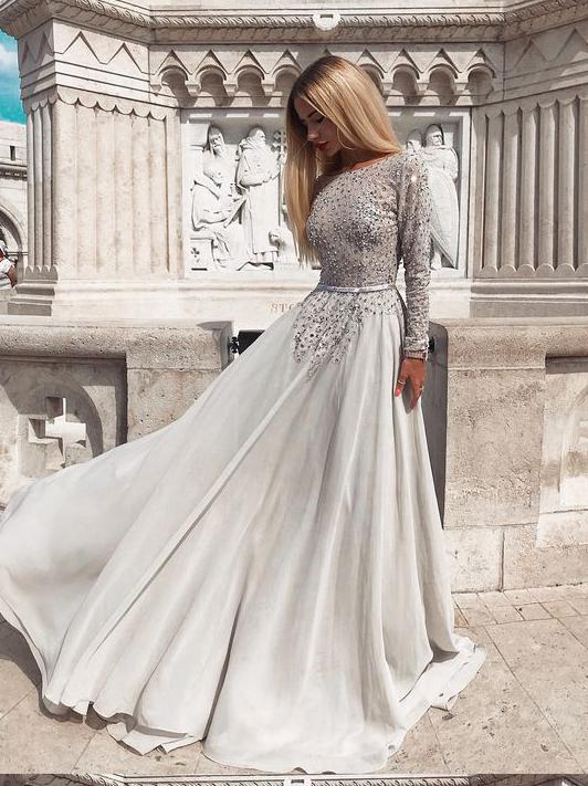 A-line Scoop Beading Prom Dresses Long Sleeve Gorgeous Long Evening Dress Prom Dress SED316