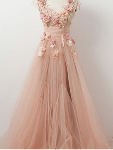 A-line V neck Beautiful Floral Prom Dresses Tulle Long Prom Dress Evening Dress SED321