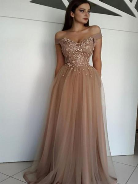 A-line Off-the-shoulder Brown Prom Dresses Tulle Lace Evening Gowns AMY2563