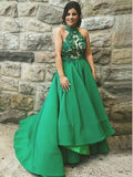 A-line Hunter Halter Prom Dresses Asymmetrical Lace Evening Dress AMY2587