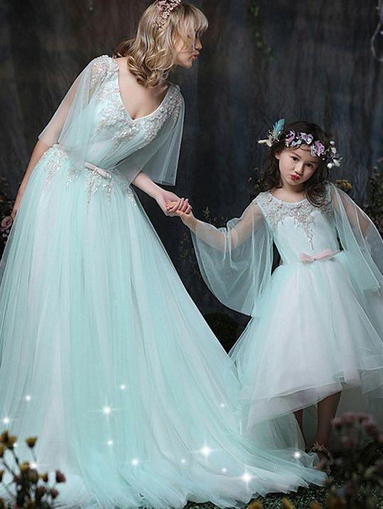A-line V neck Mint Green Prom Dress Half Sleeve Lace Tulle Evening Dress AMY2640