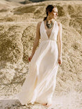 A-line V neck Boho Wedding Dresses Beach Rustic Bridal Gowns AMY2679