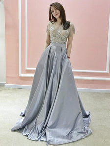 A-line Bateau Silver Prom Dresses Short Sleeve Beading Evening Dresses AMY2692