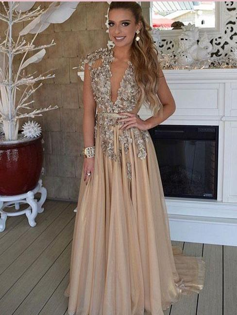 A-line V neck Long Prom Dresses With Applique Cap Sleeve Beautiful Evening Dress AMY2717