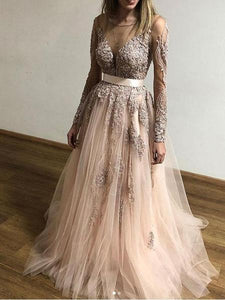 A-line Scoop Long Prom Dresses With Applique Long Sleeve Beautiful Evening Dress AMY2718