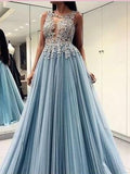 A-line Scoop Long Prom Dresses With Applique Beading Beautiful Blue Evening Dress AMY2719
