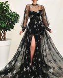Gorgeous Black Sparkly Long Prom Dress With Star High Neck Long Sleeve Unique Prom Dress Evening Gowns SED388