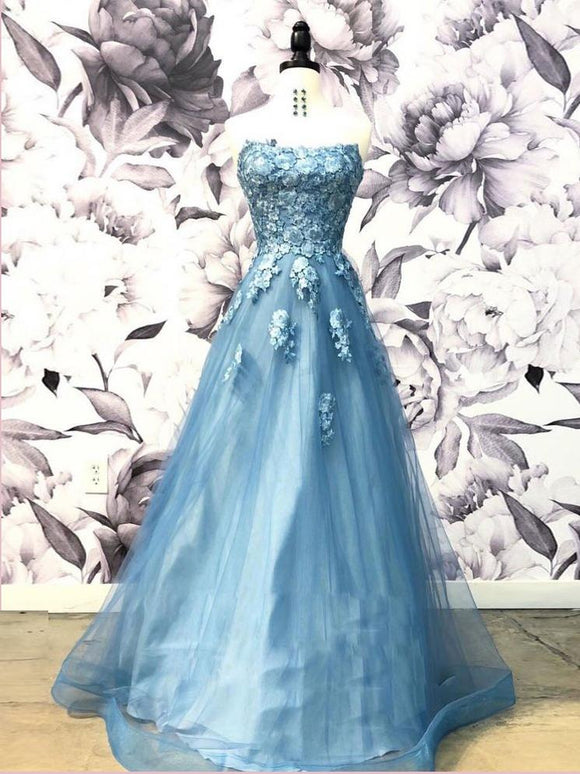 A-line Strapless Blue Long Prom Dress With Applique Unique Prom Dress Long Evening Dress SED493|Selinadress