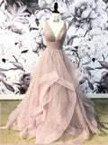 Open Back Dusty Pink Long Prom Dress Simple Ball Gowns Unique Prom Dress Long Evening Gowns SED494|Selinadress