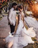 Rustic Backless Wedding Dresses Lace Applique Beach Wedding Dresses SEW016