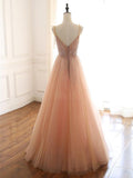 Chic A-line Spaghetti Straps Pink Long Prom Dress Beaded Party Dress #SED153