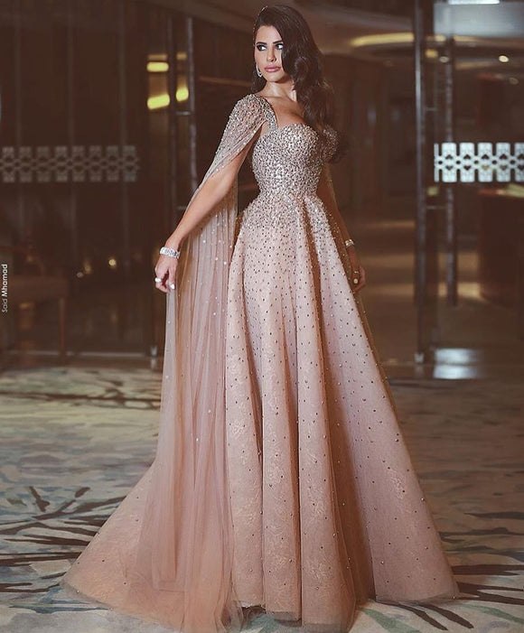 Dusty Pink Beaded Long Prom Dresses Modest Lace Evening Dress SED496|Selinadress