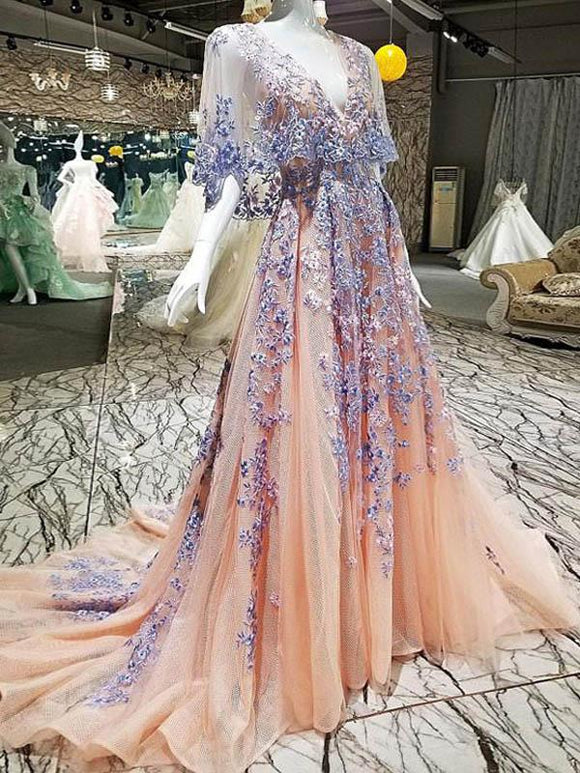 Chic A line Prom Dresses V neck Half Sleeve Long Prom Dress Evening Dresses SED461|Selinadress