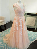 A-line V neck Floor Length Tulle Prom Dresses Long Evening Dresses SED454|Selinadress