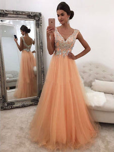 A-line Prom Dresses V neck Beading Long Prom Dress Evening Dresses SED461|Selinadress