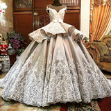 Ball Gown Scoop Floor Length Silver Elegant Prom Dresses Long Evening Dresses SED459|Selinadress