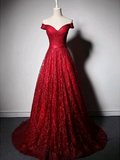 A-line Off-the-shoulder Prom Dresses Red Long Prom Dress Evening Dresses SED467|Selinadress