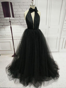 A-line Halter Prom Dresses Black Simple Long Prom Dress Evening Dresses SED468|Selinadress