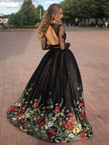 Two Pieces Prom Dresses Black A-line Scoop Floral Prom Dress/Evening Dress SED390