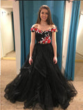 A-line Prom Dresses Black Off-the-shoulder Beading Floral Prom Dress/Evening Dress SED395